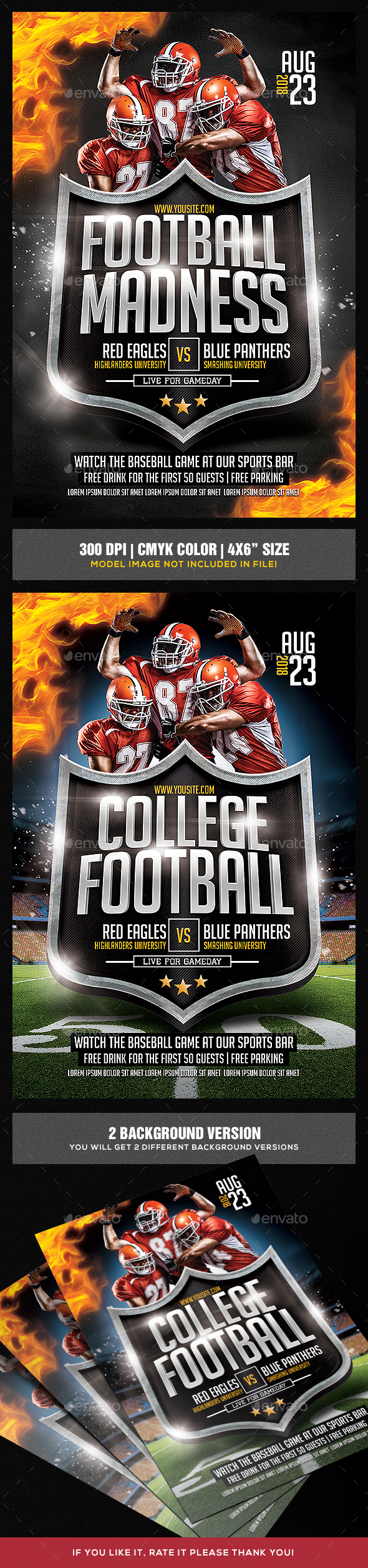 College Football Game Flyer - Sports Events