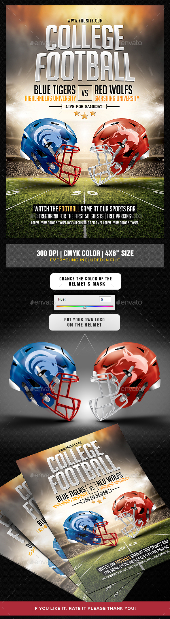 American College Football Flyer Template - Sports Events