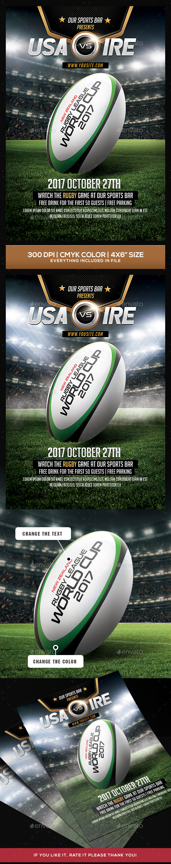 Rugby Flyer Template - Sports Events