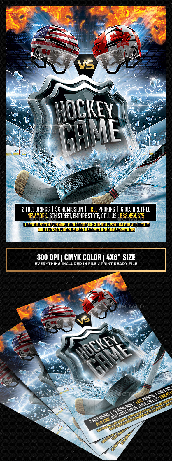 Hockey Game Flyer template - Sports Events
