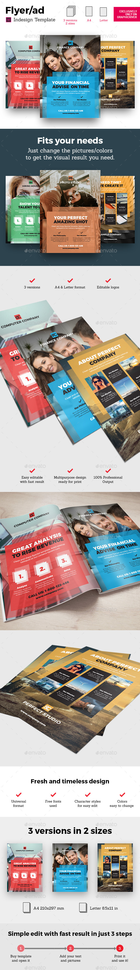 Corporate Business Universal Flyer/ad 3x Template Square White Indesign