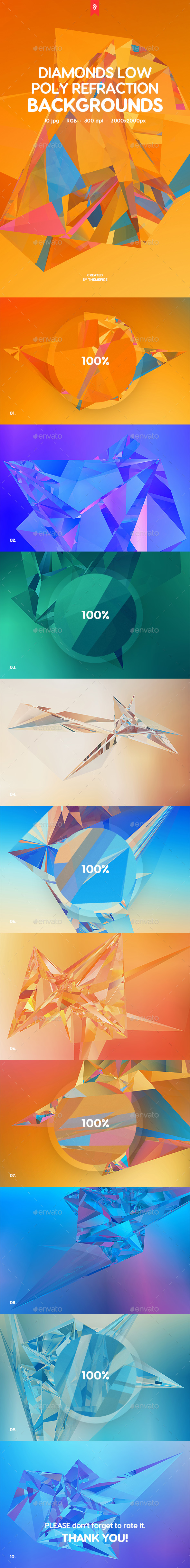 GraphicRiver Diamonds Low Poly Refraction Backgrounds 20502593