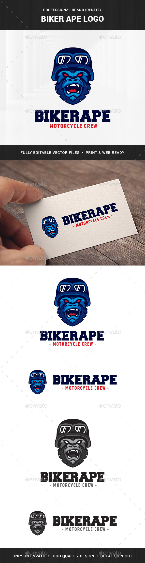 Biker Ape Logo Template - Animals Logo Templates