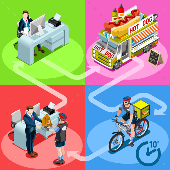 Food Truck Hot Dog Home Delivery Vector Isometric People - Food Objects