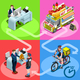 Food Truck Hot Dog Home Delivery Vector Isometric People - GraphicRiver Item for Sale