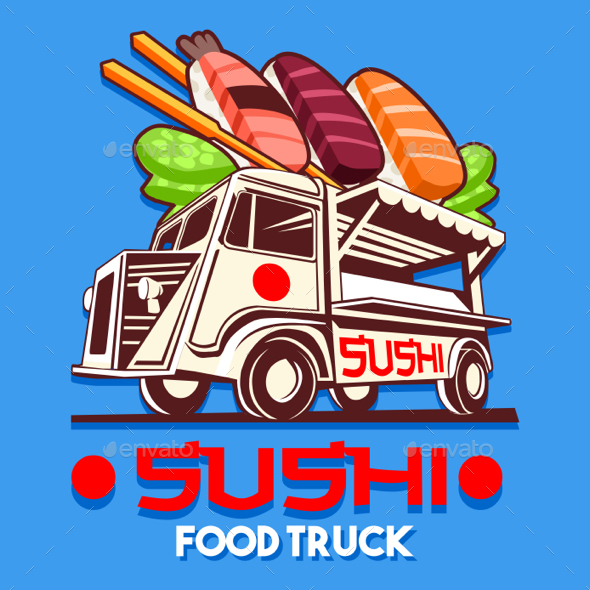 Food Truck Japanese Sushi Sashimi Delivery Service Vector Logo - Food Objects