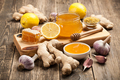 Healthy food table with honey, ginger, garlic and lemon - PhotoDune Item for Sale