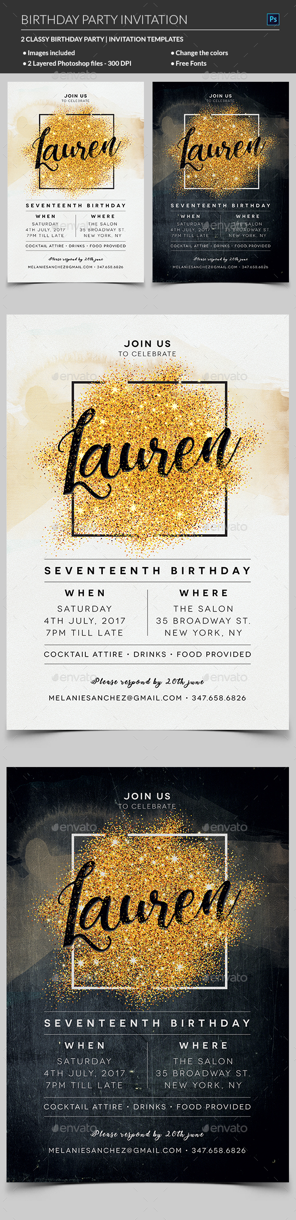 Elegant Birthday Invitation by madridnyc | GraphicRiver