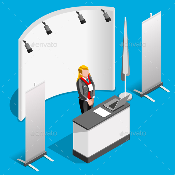 Booth Stand 3D Exhibition Isometric People Vector Illustration - People Characters