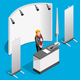 Booth Stand 3D Exhibition Isometric People Vector Illustration