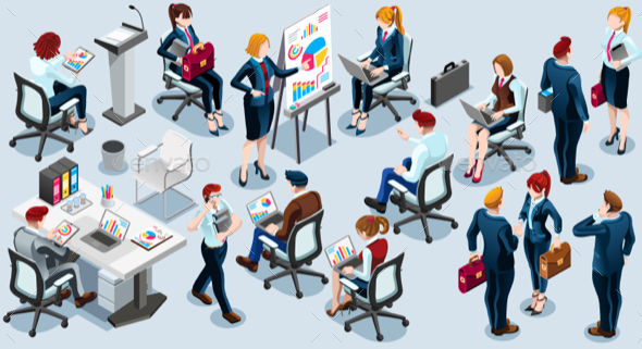 Isometric People Business Train Icon 3D Set Vector Illustration - Concepts Business