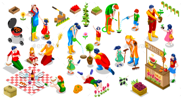 Isometric People Family Plant Tree Icon Set Vector Illustration - Flowers & Plants Nature