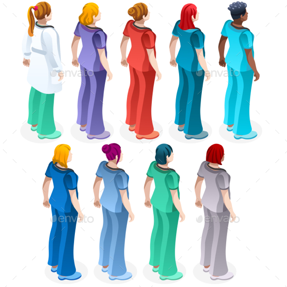 GraphicRiver Female Nurse Scrub Uniform Vector Isometric Health Care Infographic 20503828