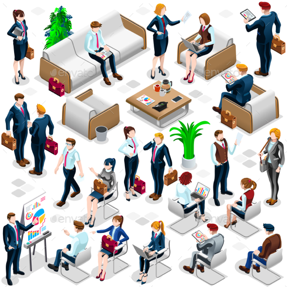 Isometric People Lots Business Icon 3D Set Vector Illustration - People Characters