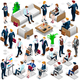 Isometric People Lots Business Icon 3D Set Vector Illustration - GraphicRiver Item for Sale