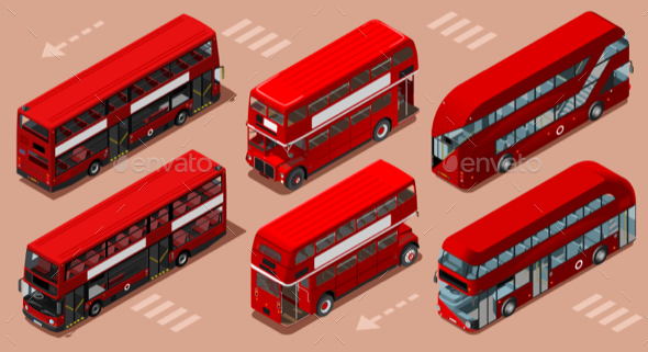 London Red Bus 3D Vector Isometric - Man-made Objects Objects