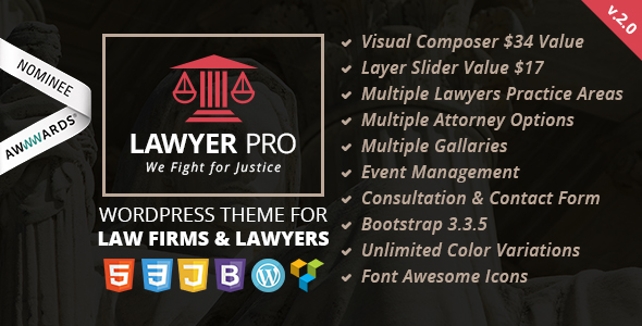 Lawyer Pro - Responsive WordPress Theme for Lawyers