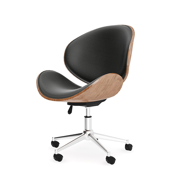 3DOcean Wood and Leather Swivel Chair 20504458