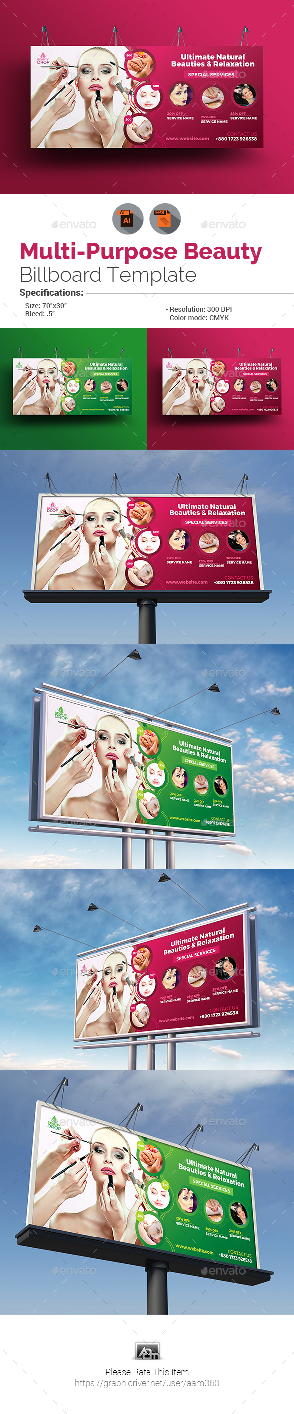Spa & Beauty Billboard Template - Signage Print Templates