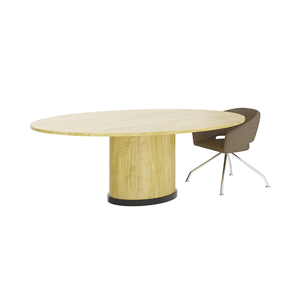3DOcean Eliptical Table with Beige Chair 20504630