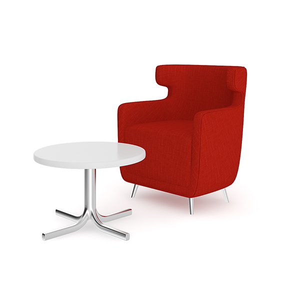 3DOcean Red Armchair with Coffee Table 20504636