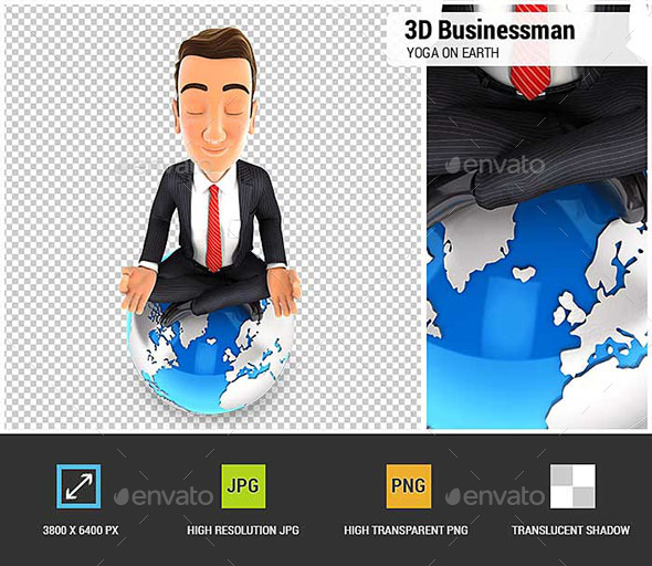 3D Businessman Doing Yoga on Top of the Earth - Characters 3D Renders