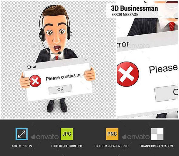GraphicRiver 3D Businessman Holding an Error Message 20504797