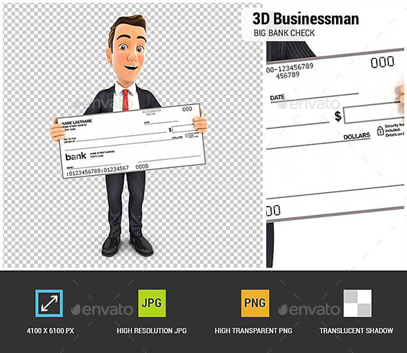 3D Businessman Holding Big Bank Check - Characters 3D Renders
