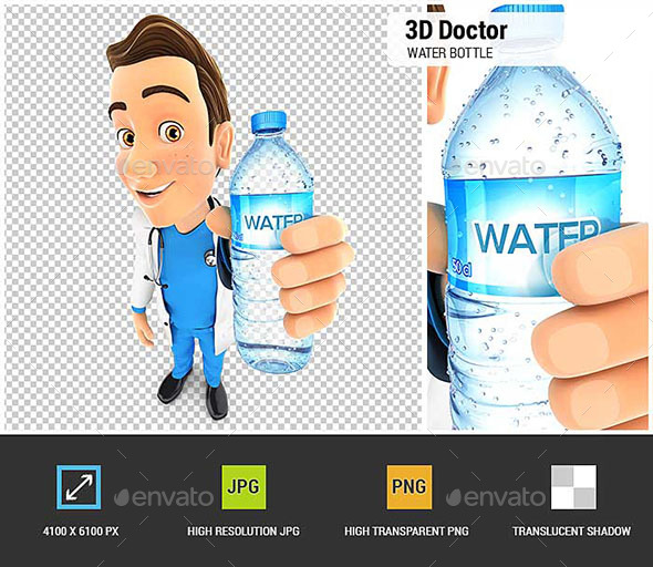 3D Doctor Holding Water Bottle - Characters 3D Renders