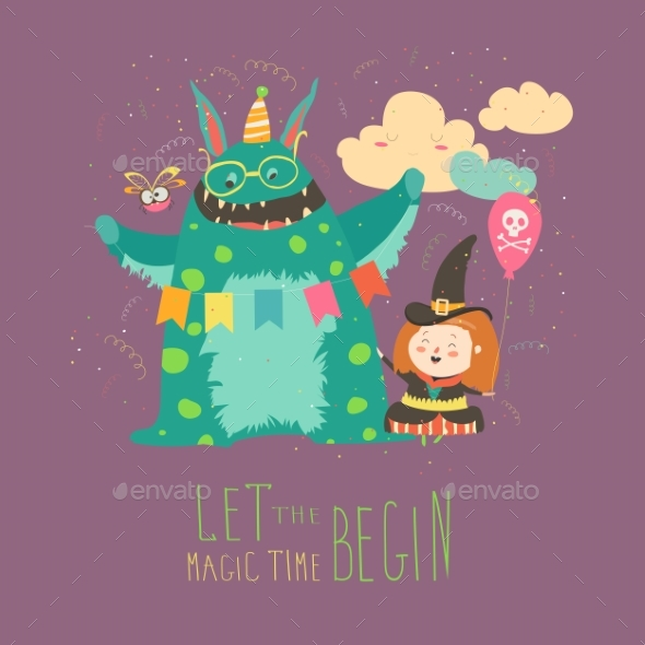GraphicRiver Happy Girl with Her Monster 20504833
