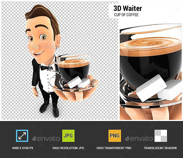 GraphicRiver 3D Waiter Holding a Cup of Coffee 20504838