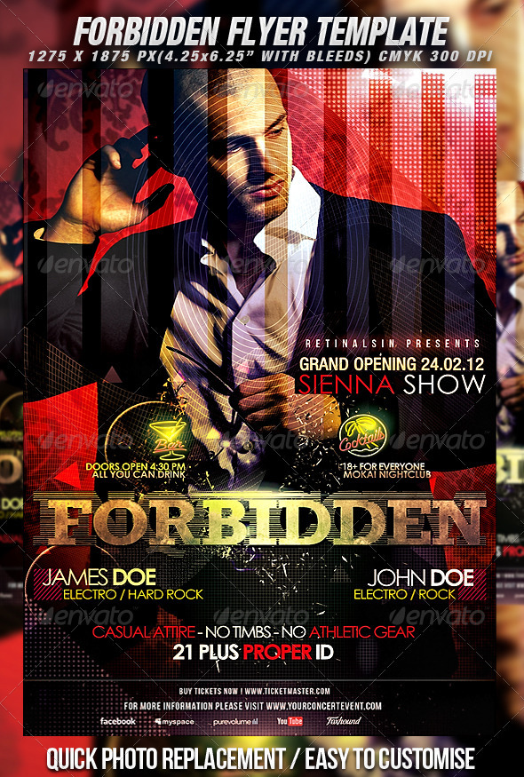 Forbidden Flyer Template - Clubs & Parties Events