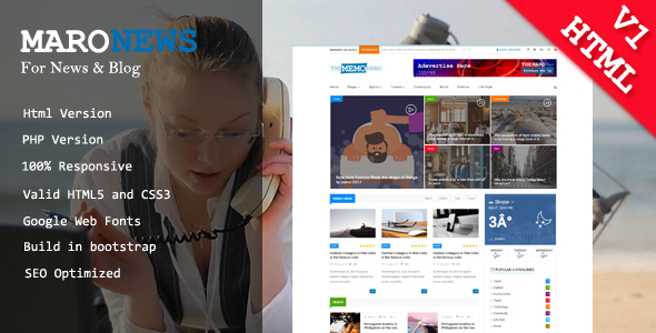 ThemeForest Maro News & Blog Html Template 20394410