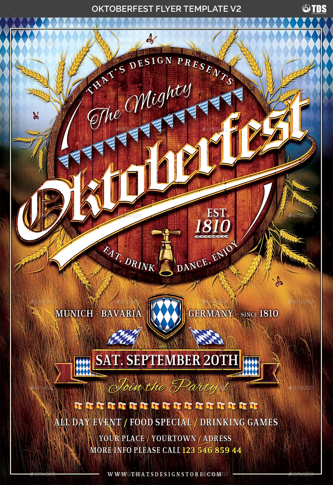 oktoberfest flyer template v2 by lou606