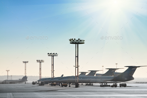 Planes on the runway - Stock Photo - Images
