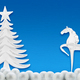 Christmas tree and horse on a background of blue paper - PhotoDune Item for Sale