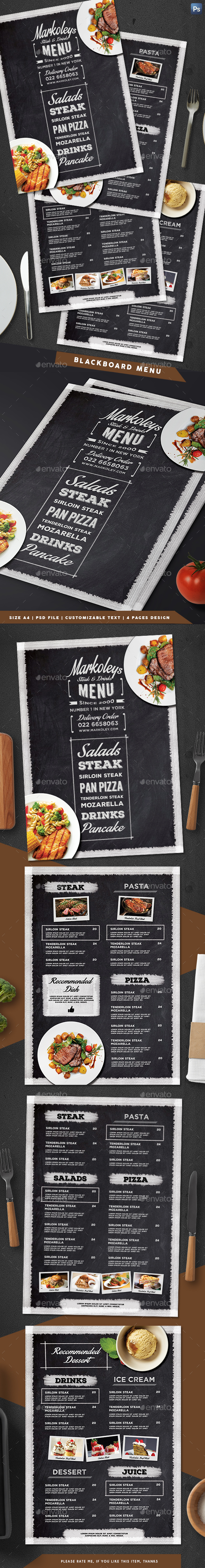 Typography Blackboard Menu - Food Menus Print Templates
