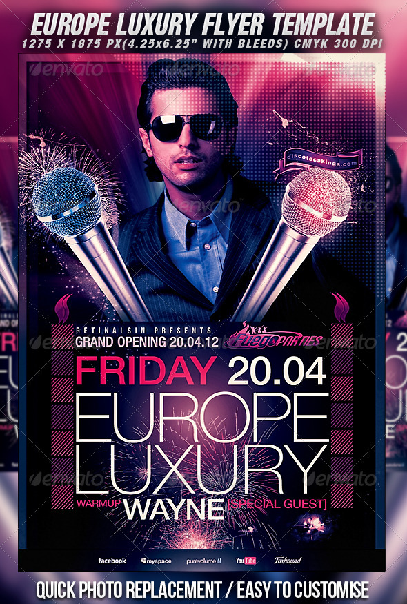 Europe Luxury Flyer Template - Clubs & Parties Events