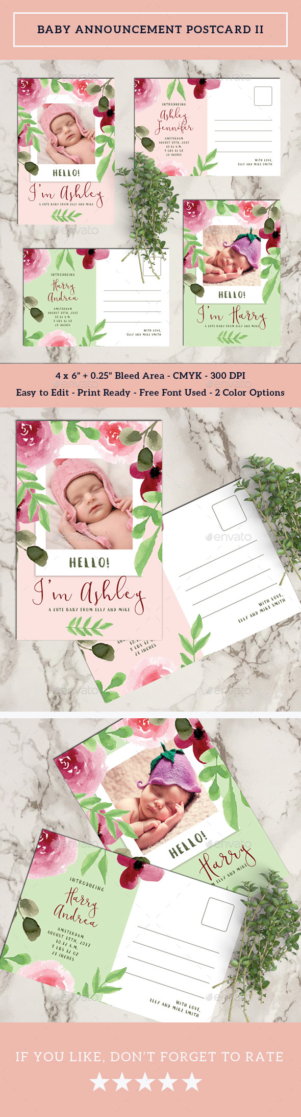 Baby Announcement Postcard II - Cards & Invites Print Templates