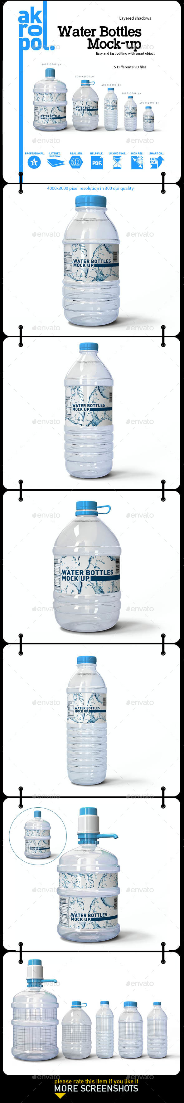 Water Bottles Mock-up - Product Mock-Ups Graphics
