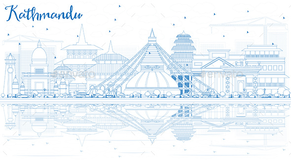 Outline Kathmandu Skyline with Blue Buildings and Reflections. - Buildings Objects