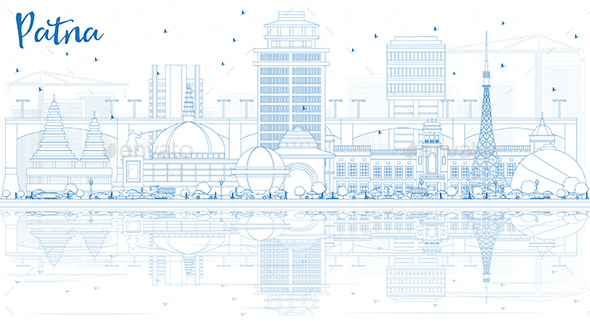 Outline Patna Skyline with Blue Buildings and Reflections. - Buildings Objects