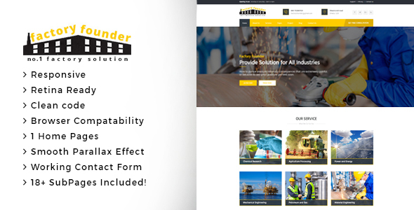 Factory Founder - Factory & Industrial Business HTML Template - Business Corporate