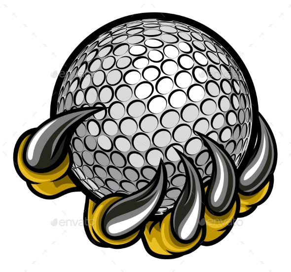 Monster or Animal Claw Holding Golf Ball - Miscellaneous Vectors
