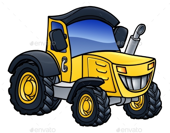 Tractor Vehicle Cartoon - Animals Characters