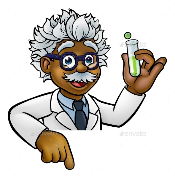 Scientist Cartoon Character Holding Test Tube - Technology Conceptual