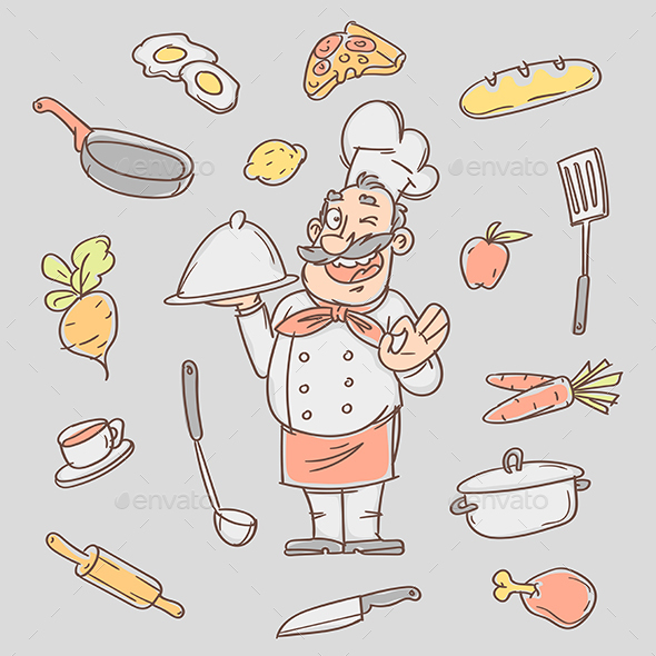 Drawing Sketch Cook and Various Kitchen Objects - Food Objects