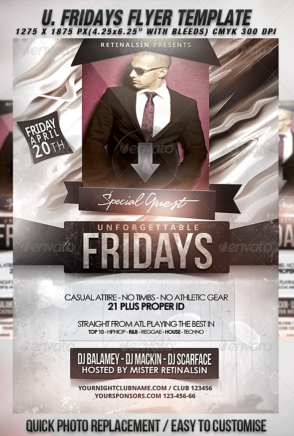 Unforgettable Fridays Flyer Template By Mexelina Graphicriver