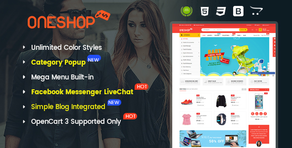 ThemeForest OneShop Drag & Drop Multipurpose Responsive OpenCart 3 Theme 20506236
