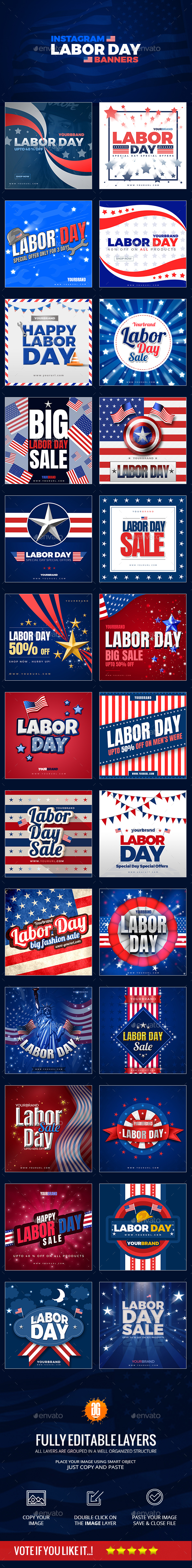 26 Labor Day Instagram Banners - Social Media Web Elements
